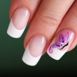 Purple Butterfly White Tip Nail Art