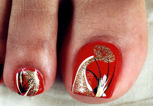 Easy simple nail art for toes red toe design marble toe nail art prinsesfo Images
