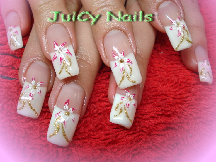 white-gold-tip-nail-nail-art-prom