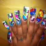 Colorful Water Paint Nail Art For Girls