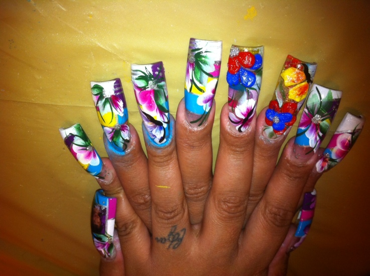 Colorful nail art for girls - Colorful Water Paint Nail Art For Girls |