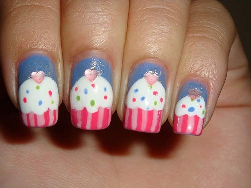 Fun Cup Cake Nail Design For Kids